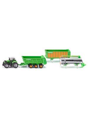 Трактор Дотц Фар с набором прицепов (3 шт.) (1:87) SIKU. Цвет: черный, зеленый, оранжевый