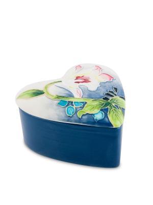 Шкатулка Сердце Pavone. Цвет: белый, голубой
