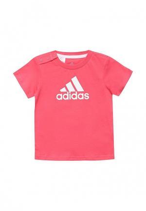 Футболка adidas Performance. Цвет: розовый