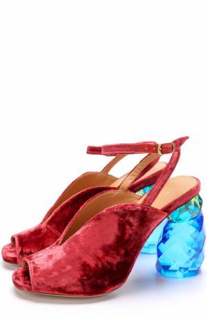 Бархатные босоножки на декорированном каблуке Dries Van Noten. Цвет: бордовый