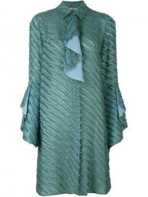 Фактурное платье-рубашка Marco De Vincenzo. Цвет: синий