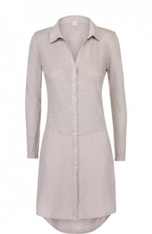 Льняное платье-рубашка свободного кроя 120% Lino. Цвет: бежевый