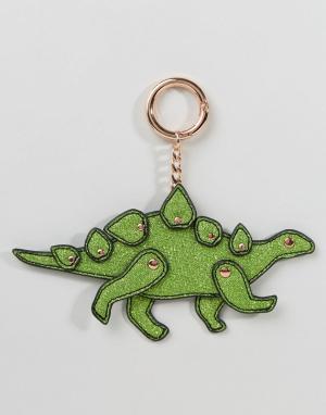 ASOS Брелок для ключей с динозавром металлик. Цвет: зеленый