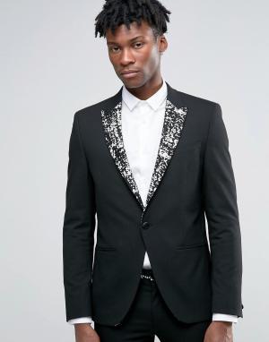ASOS Черный пиджак суперузкого кроя с золотистыми лацканами. Цвет: черный