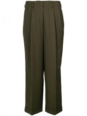 Укороченные широкие брюки Odeeh. Цвет: зелёный