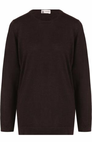 Пуловер из смеси шелка и кашемира с круглым вырезом Colombo. Цвет: коричневый