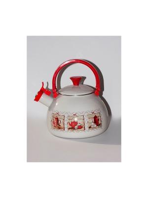 Чайник с бак.руч., со свистком 2,75 л METROT. Цвет: бежевый, красный
