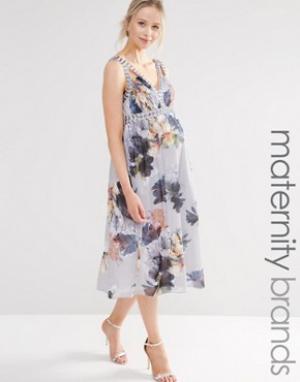 Little Mistress Maternity Короткое приталенное платье для беременных с цветочным принтом и глубо. Цвет: мульти