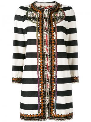 Полосатое пальто Bazar Deluxe. Цвет: чёрный