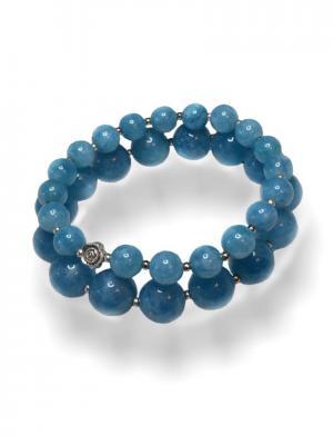 Браслет Jana Duff 500 цвет агат голубой, двойной, ювелирный сплав. Цвет: голубой