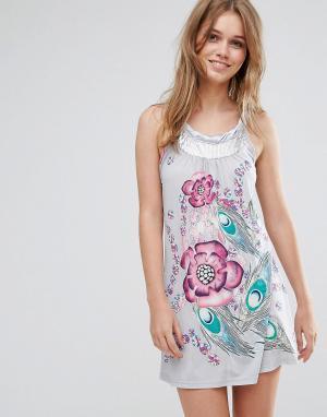 Pussycat London Платье-туника с цветочным принтом. Цвет: серый