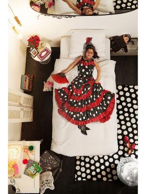 Комплект постельного белья Фламенко 150х200см SNURK. Цвет: черный, красный, белый