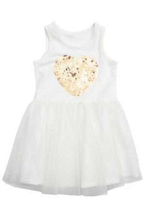 Платье PlayToday. Цвет: белый, золотистый