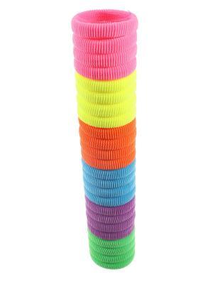 Резинки для волос 6 ярких цветов, 4 см, мягкие, 24 штуки Радужки. Цвет: фиолетовый,розовый,желтый