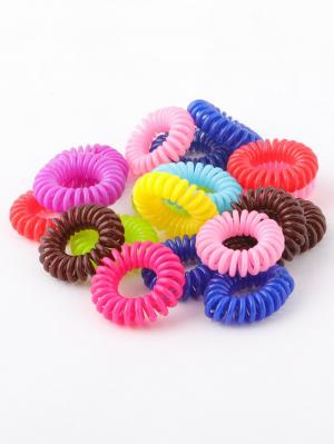 Резинки - спиральки для волос, в наборе 20 штук Радужки. Цвет: голубой, красный, желтый, зеленый