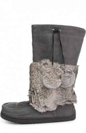 Унты Snowy Owl Mukluk с вышивкой бисером Mukluks. Цвет: светло-серый