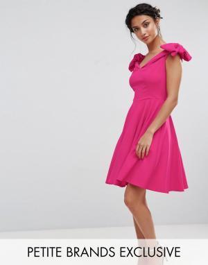 John Zack Petite Платье мини с открытыми плечами и бантами на рукавах. Цвет: розовый