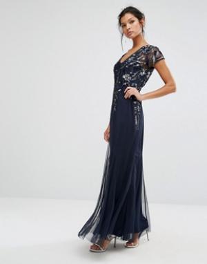 Frock and Frill Декорированное платье макси. Цвет: темно-синий