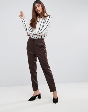 Selected Приталенные брюки из ткани с добавлением шерсти Soren. Цвет: красный