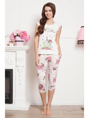 Пижама CLEO. Цвет: молочный, бордовый