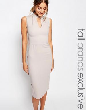 Alter Tall Платье-футляр без рукавов с высоким воротом и вырезом капелькой. Цвет: серый