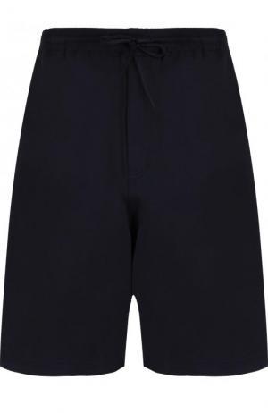 Хлопковые шорты свободного кроя с Y-3. Цвет: темно-синий