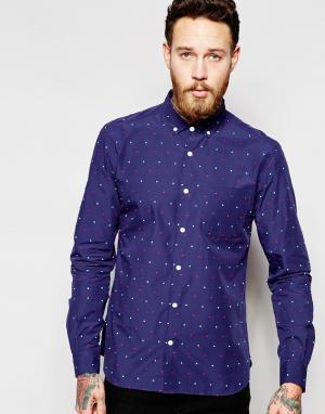 YMC Рубашка в мелкий разноцветный горошек. Цвет: синий