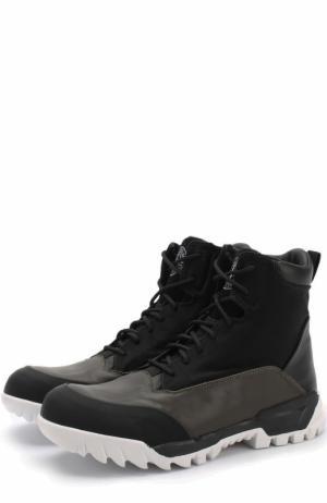 Текстильные ботинки на шнуровке Stone Island. Цвет: черный