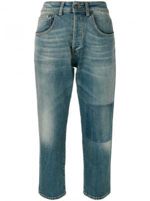 Укороченные джинсы с потертой отделкой 6397. Цвет: синий
