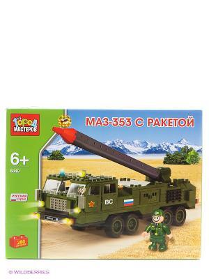 Конструктор МАЗ-353 с ракетой Город мастеров. Цвет: хаки