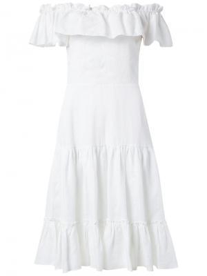 Off the shoulder flared dress Isolda. Цвет: белый