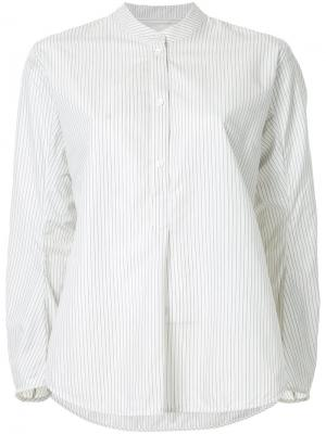 Рубашка в полоску с закругленным подолом Studio Nicholson. Цвет: белый