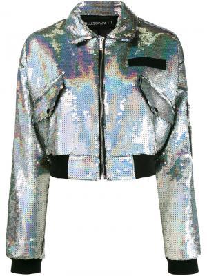 Куртка-бомбер Chiara Filles A Papa. Цвет: металлический