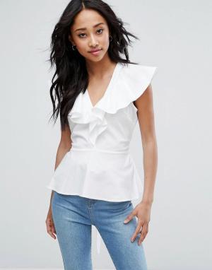 ASOS Хлопковая блузка с оборками и завязкой. Цвет: белый