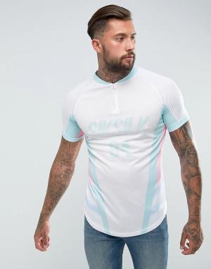 SikSilk Обтягивающая футболка в стиле ретро. Цвет: белый