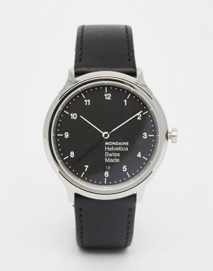 Mondaine Черные часы 40 мм на кожаном ремешке Helvetica. Цвет: черный