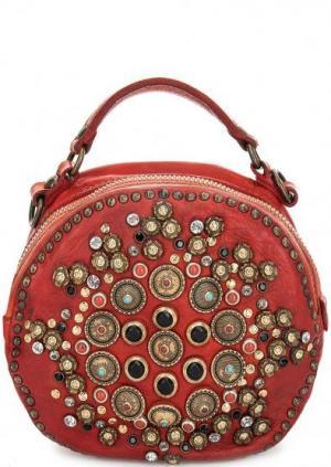 Круглая сумка с металлическим декором Campomaggi. Цвет: красный