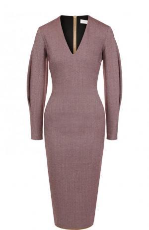 Приталенное платье-миди с V-образным вырезом Victoria Beckham. Цвет: бордовый