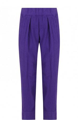 Однотонные укороченные брюки из хлопка Raquel Allegra. Цвет: фиолетовый