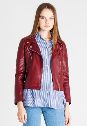 Куртка кожаная UNNA. Цвет: бордовый