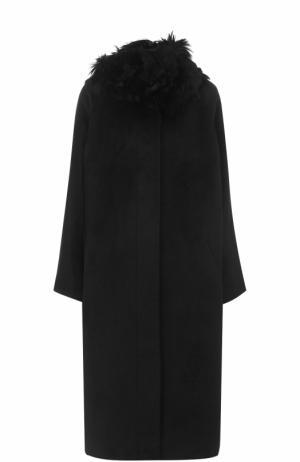 Шерстяное пальто с меховой отделкой Tegin. Цвет: черный