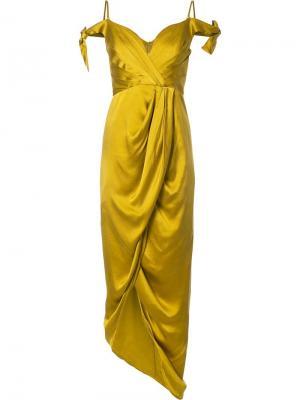 Платье миди с драпировкой Zimmermann. Цвет: жёлтый и оранжевый