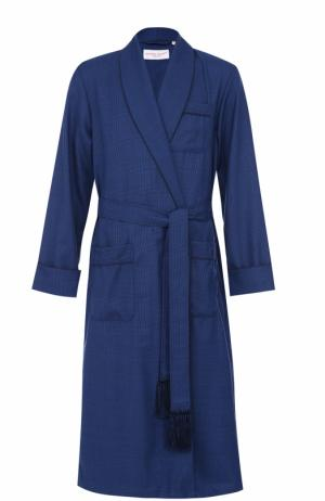 Шерстяной халат с поясом Derek Rose. Цвет: голубой
