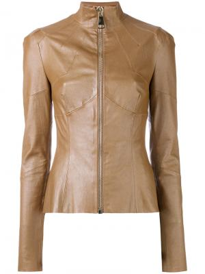 Fitted leather jacket Talbot Runhof. Цвет: коричневый