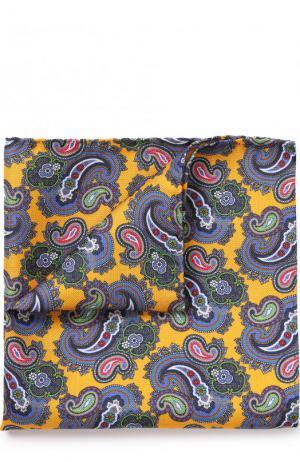 Шелковый платок с узором пейсли Eton. Цвет: желтый