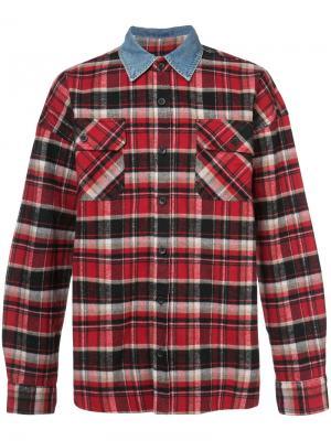 Клетчатая рубашка с джинсовым воротником Fear Of God. Цвет: красный