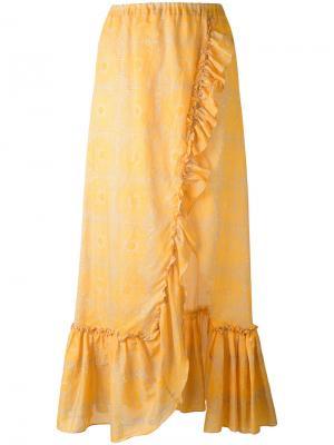 Длинная юбка с оборкой Lemlem. Цвет: жёлтый и оранжевый