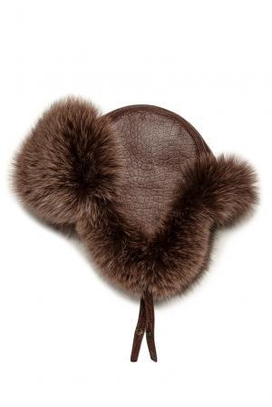 Кожаная шапка с отделкой из меха песца 178512 Mkc. Цвет: коричневый