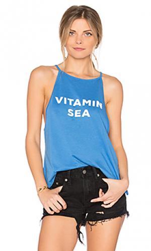 Майка с высоким горлом vitamin sea The Laundry Room. Цвет: синий