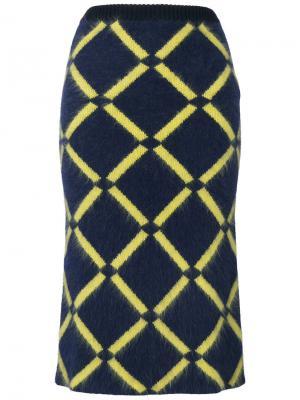 Юбка в ромбик Versace. Цвет: синий